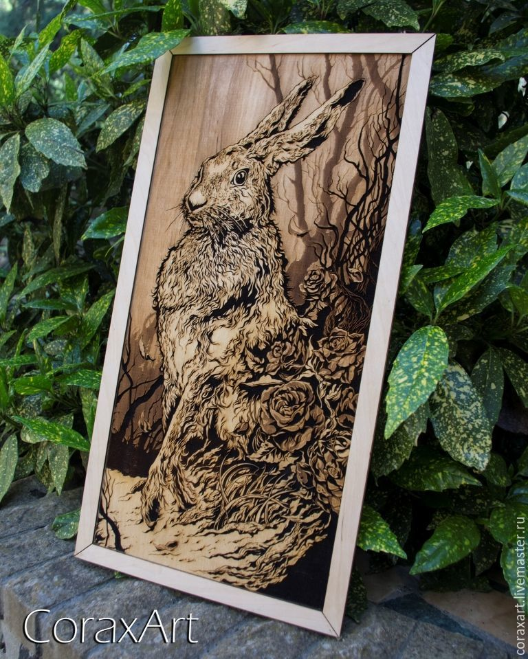 """Деревянное панно, картина """"Заяц""""  Гравировка, Животные, Ялта, Фото №1"""