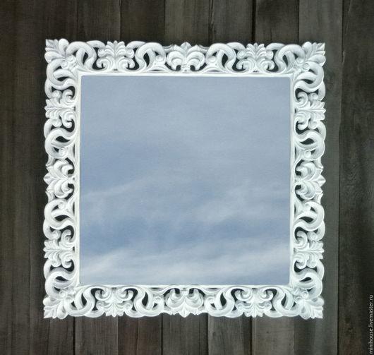 Зеркала ручной работы. Ярмарка Мастеров - ручная работа. Купить Зеркало в деревянной раме, стиль прованс. Z15a. Handmade. Белый