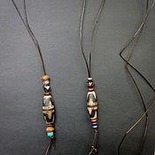 Фен-шуй и эзотерика handmade. Livemaster - original item Dzi pendant on a leather cord (unisex). Handmade.