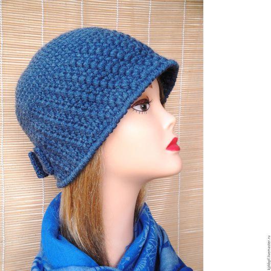 """Шляпы ручной работы. Ярмарка Мастеров - ручная работа. Купить Вязаная шляпа """"Камилла"""" . Цвет синий.. Handmade. Тёмно-синий"""