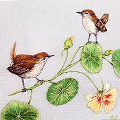 Картины и панно handmade. Livemaster - original item Embroidered stitch pattern birds and Nasturtium. Handmade.