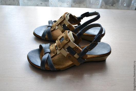 Обувь ручной работы. Ярмарка Мастеров - ручная работа. Купить плетёнки на танкетке. Handmade. Синий, натуральная кожа