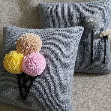 Textiles handmade. Livemaster - original item 3D Cushion knitted from wool mixture Who ice cream?. Handmade.