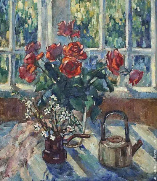 Натюрморт с букетом роз. Анна Чепель. 75 x 70 см., холст, масло, 2001.  Букет красных роз и веточка цветущей вишни, чайник на фоне окна и природы, освещенной солнцем.