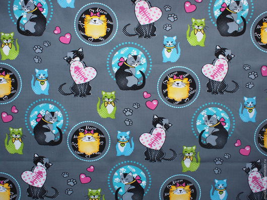 Шитье ручной работы. Ярмарка Мастеров - ручная работа. Купить Серая ткань с котами. Handmade. Серый, ткань для шитья