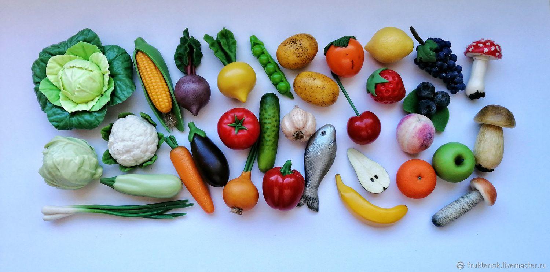 Овощи из полимерной глины, Кукольная еда, Москва,  Фото №1
