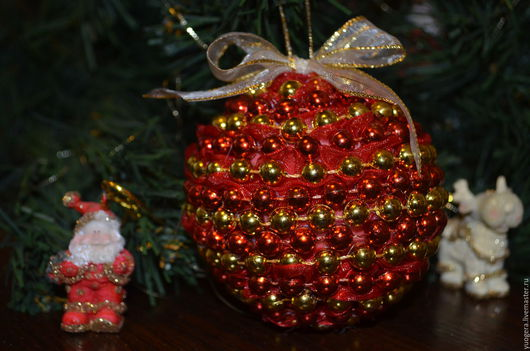 """Новый год 2017 ручной работы. Ярмарка Мастеров - ручная работа. Купить Новогоднее украшение """"Елочный шар"""". Handmade. Подарок на новый год"""