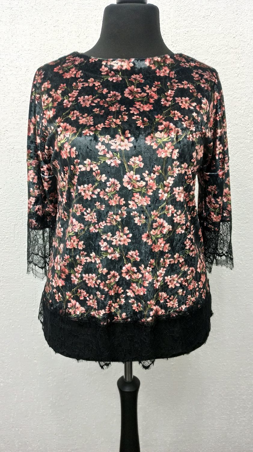 Velvet blouse with lace black large sizes, Blouses, Moscow,  Фото №1