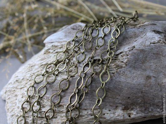 Цепочка для украшений латунь Цепочка из латуни, ручной работы. Покрытие цепочки не содержит свинца и кадмия. Цепочка имеет запаянные все звенья.  Цепочка этой формы прекрасно подходит для браслетов