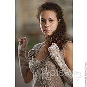 """Одежда ручной работы. Ярмарка Мастеров - ручная работа Авторское платье """"Дюны"""" Эко одежда. Бежевый, белый, коричневый. Handmade."""