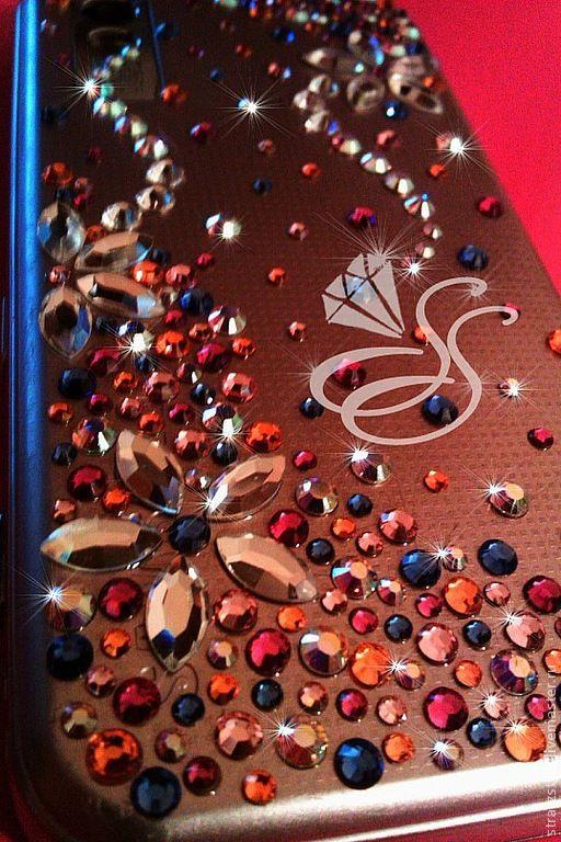 Декор техники ручной работы. Ярмарка Мастеров - ручная работа. Купить Телефон с кристаллами SWAROVSKI. Handmade. Розовый, swarovski, телефон