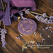 Украшения handmade. Livemaster - original item Embroidered pendant Lavender nights. Handmade.