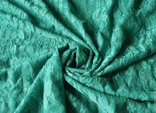 Шитье ручной работы. Ярмарка Мастеров - ручная работа. Купить Ткань гипюр стрейч Морская волна. Handmade. Морская волна
