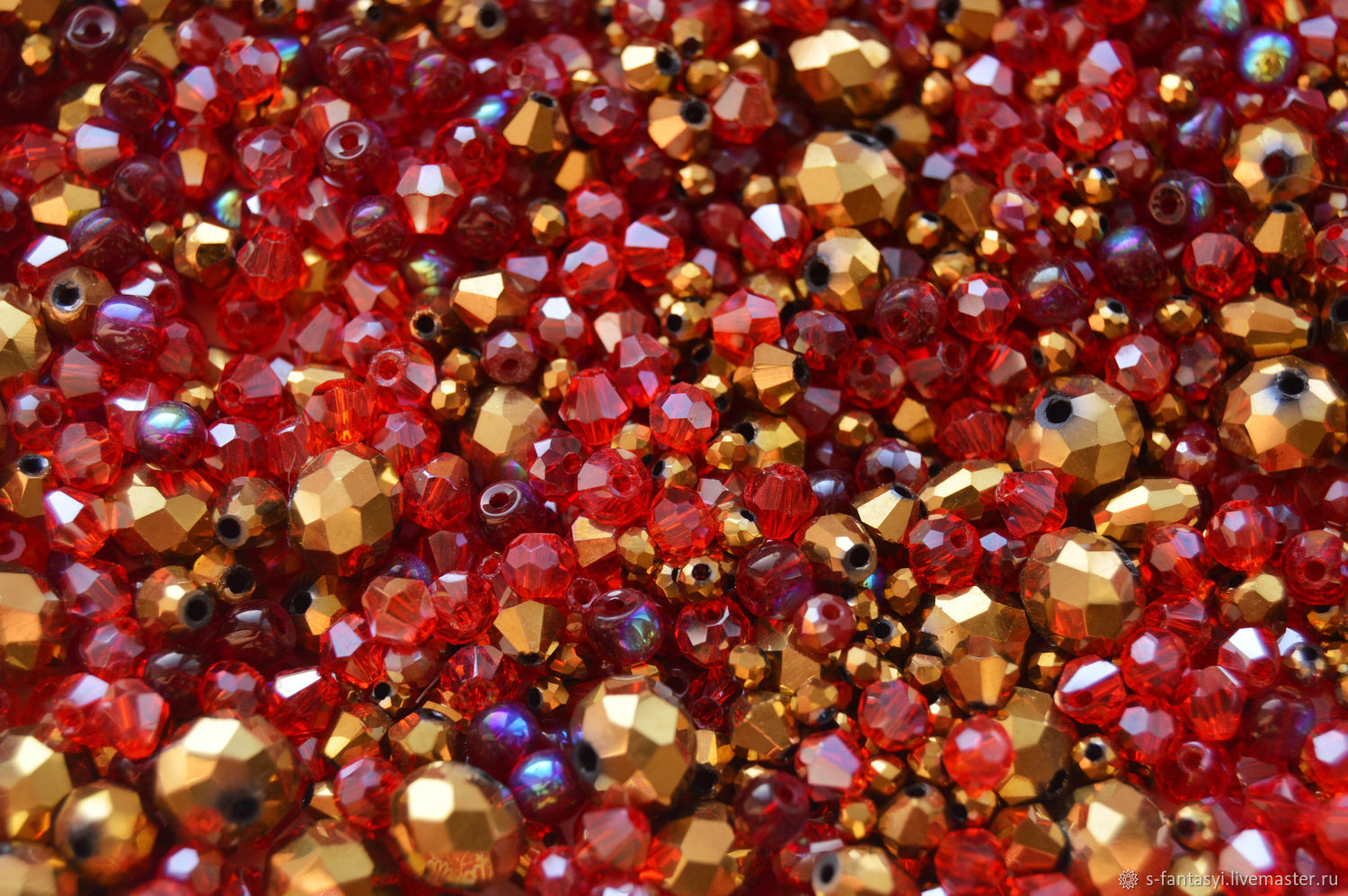 Mix of red gold beads, Beads1, Stavropol,  Фото №1