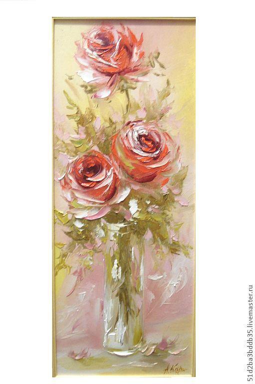 Картины цветов ручной работы. Ярмарка Мастеров - ручная работа. Купить роза живопись. Handmade. Розовый, картина, картина в подарок