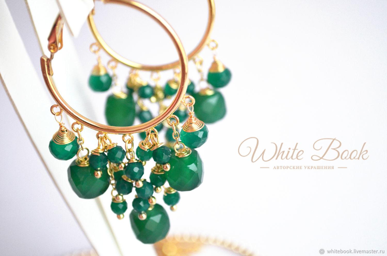 Green Onyx Ring Earrings, Gold Earrings, Congo earrings, Moscow,  Фото №1