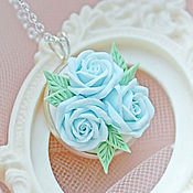 Свадебный салон handmade. Livemaster - original item Pendant with soft blue roses. Handmade.