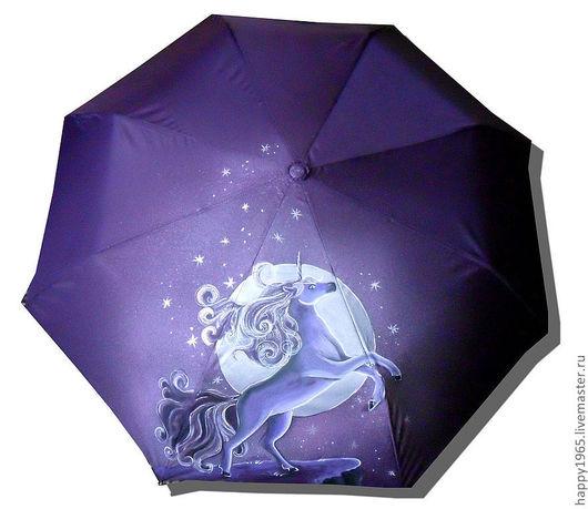 """Зонты ручной работы. Ярмарка Мастеров - ручная работа. Купить зонт ручной росписи """"Единорог"""". Handmade. Тёмно-фиолетовый, единорог"""