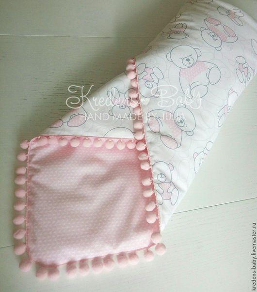 """Для новорожденных, ручной работы. Ярмарка Мастеров - ручная работа. Купить Одеяло-конверт на выписку """"Мишутка"""" (розовый). Handmade. Розовый"""
