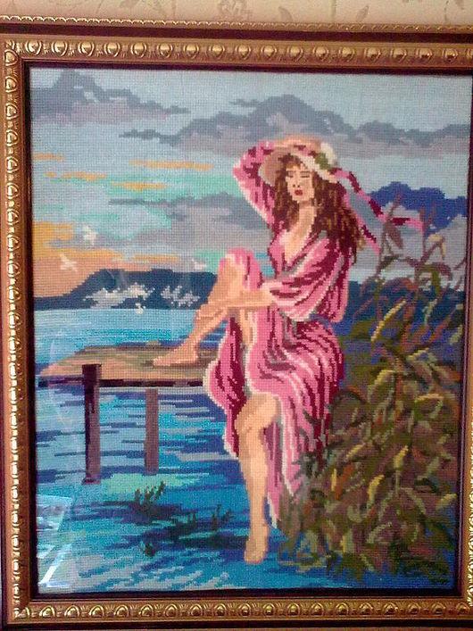 """Люди, ручной работы. Ярмарка Мастеров - ручная работа. Купить """"Девушка на мостике"""". Handmade. Картина, шляпа, сказка, отдых, море"""