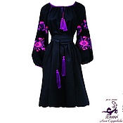 """Одежда ручной работы. Ярмарка Мастеров - ручная работа Вышиванка роскошная """"Черный лен"""" с вышивкой в любых цветах. Handmade."""