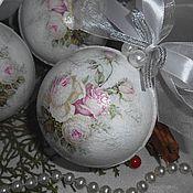 """Подарки к праздникам ручной работы. Ярмарка Мастеров - ручная работа """"Шебби розы"""" - новогодние шары, елочные украшения новогодние подарки. Handmade."""
