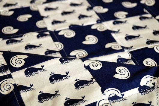 """Пледы и одеяла ручной работы. Ярмарка Мастеров - ручная работа. Купить Мини-плед """"Морской мир"""". Handmade. Комбинированный, ткани"""