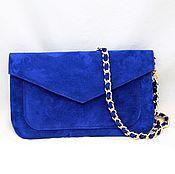 Сумки и аксессуары handmade. Livemaster - original item Blue suede clutch bag with cap and chain art. Four hundred six. Handmade.