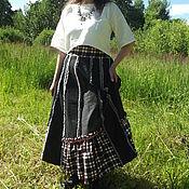 Одежда ручной работы. Ярмарка Мастеров - ручная работа Джинсовая макси юбка бохо 12 клиньев. Handmade.