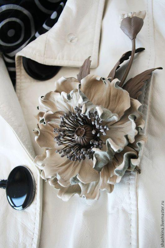 """Броши ручной работы. Ярмарка Мастеров - ручная работа. Купить Брошь-мак из кожи """"Vintage"""".Цветы из кожи, броши из кожи,кожаные цветы. Handmade."""