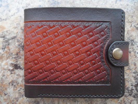 Кошельки и визитницы ручной работы. Ярмарка Мастеров - ручная работа. Купить Портмоне (кошелек, бумажник) двойного сложения (Bi-fold wallet) № 5.. Handmade.