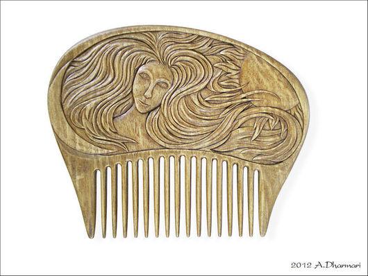 """Гребни, расчески ручной работы. Ярмарка Мастеров - ручная работа. Купить Гребень для волос деревянный """"Солнечно-лунная Дева"""". Handmade."""
