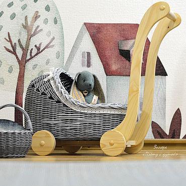 Куклы и игрушки ручной работы. Ярмарка Мастеров - ручная работа Плетеная коляска для кукол, игрушечная коляска. Handmade.