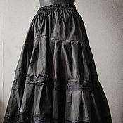 Одежда ручной работы. Ярмарка Мастеров - ручная работа Черная хлопковая юбка. Handmade.