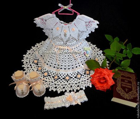Крестильные принадлежности ручной работы. Ярмарка Мастеров - ручная работа. Купить Крестильный комплект для девочки платье крючком из хлопка белый Флора. Handmade.