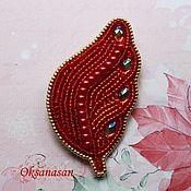 Украшения handmade. Livemaster - original item Red Feather Beaded Brooch. Handmade.