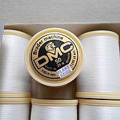 Материалы для творчества ручной работы. Ярмарка Мастеров - ручная работа Тонкие винтажные швейные нитки DMC х/б №50, белые, Франция. Handmade.