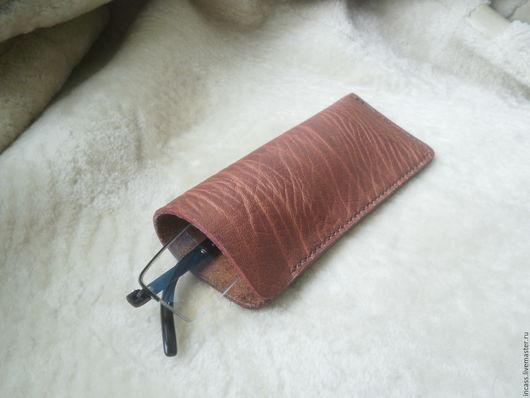 Футляры, очечники ручной работы. Ярмарка Мастеров - ручная работа. Купить Очёчник кожаный футляр для очков из кожи ручной работы. Handmade.