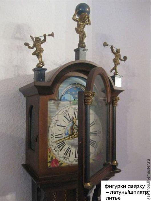 Часы для дома ручной работы. Ярмарка Мастеров - ручная работа. Купить СТАРИННЫЕ НАСТЕННЫЕ ЧАСЫ С БОЕМ, лунный календарь ГОЛЛАНДИЯ. Handmade.