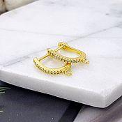Материалы для творчества handmade. Livemaster - original item Shvenzy with lock 18 mm with zircons color gold (3411). Handmade.