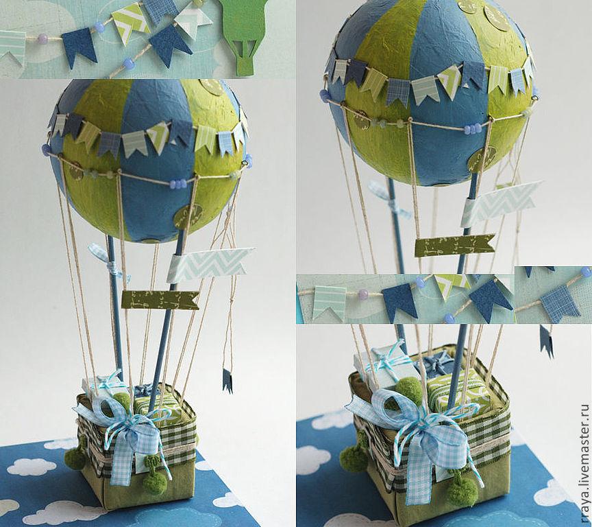 """Купить объемная открытка """"Воздушный шар"""" - голубой, Открытка ручной работы, открытка на день рождения"""