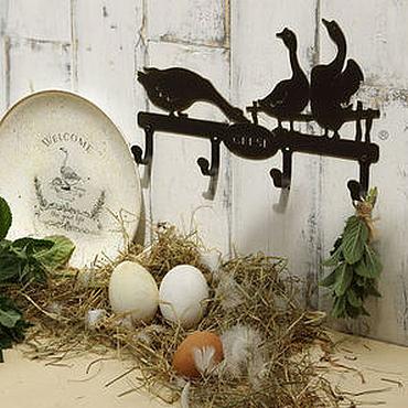 Для дома и интерьера ручной работы. Ярмарка Мастеров - ручная работа Крючки металлические Гуси. Handmade.