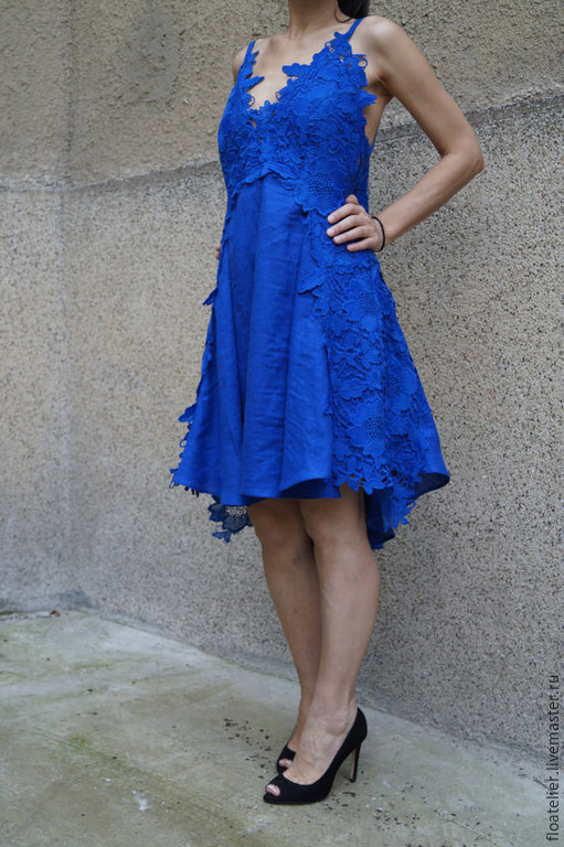 Платья ручной работы. Ярмарка Мастеров - ручная работа. Купить Летнее кружевное платье/Ассиметричная туника/F1497. Handmade. Синий, льняная одежда