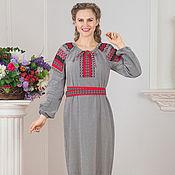 Русский стиль handmade. Livemaster - original item Traditional linen dress Chaldony 01. Handmade.