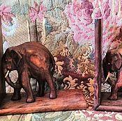 """Винтаж ручной работы. Ярмарка Мастеров - ручная работа Антикварные держатели для книг """"Индийские слоны"""", 1970-е, Индия. Handmade."""