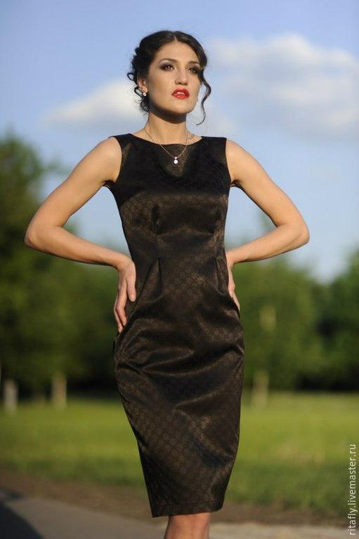 платье из жаккарда в офис на лето платье без рукавов платье до колен платье офисное летнее платье на каждый день платье красивое коричневое повседневное