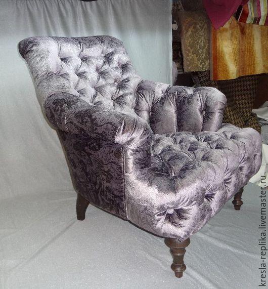 """Мебель ручной работы. Ярмарка Мастеров - ручная работа. Купить Кресло для гостиной """"капитоне"""". Handmade. Серебряный, шебби шик, кресло"""