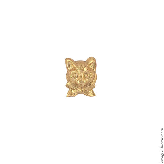 Для украшений ручной работы. Ярмарка Мастеров - ручная работа. Купить Винтажная фурнитура, латунный штамп котик малый. Handmade.