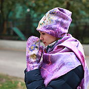 Комплекты аксессуаров ручной работы. Ярмарка Мастеров - ручная работа Валяный комплект  (шапочка, варежки, мини палантин). Handmade.