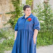 """Одежда ручной работы. Ярмарка Мастеров - ручная работа Платье льняное синее """" Оторви голову"""". Handmade."""